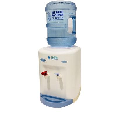 White benchtop water cooler spring water man
